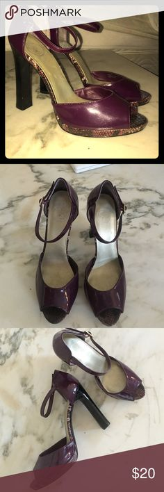 Jessica Simpson heels, purple with snake skin Purple patent leather heels from Jessica Simpson! Worn once for a wedding and once for a New Years party. Very cute on, gives an old fashion vibe with the thin strap around the ankle to highlight your legs. Has snake skin detail all down the side of the shoe. Comfortable to walk in. Jessica Simpson Shoes Heels