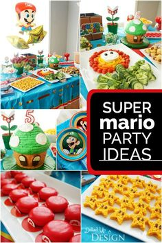 Game On! A Boy's Super Mario Party - Maike Münstermann - Game On! A Boy's Super Mario Party Mario lovers unite! This boy's Super Mario birthday party may just send you racing to plan your own party! Mushroom cake, cloud cookies and Mario Kart racing? Super Mario Party, Super Mario Bros, Super Mario Birthday, Mario Birthday Party, 6th Birthday Parties, 5th Birthday Ideas For Boys, Mario Party Games, Cake Birthday, Super Mario Cake