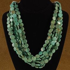 6 Strand Green Turquoise Beaded Necklace $390.00 #Alltribes