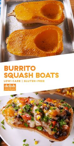Butternut Squash Boats Are Burrito Butternut Squash Boats The New Zucchini Boats?DelishAre Burrito Butternut Squash Boats The New Zucchini Boats? Vegetable Recipes, Beef Recipes, Mexican Food Recipes, Low Carb Recipes, Vegetarian Recipes, Dinner Recipes, Cooking Recipes, Healthy Recipes, Cooking Videos