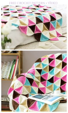 Crochet Triangle Pattern, Spiral Crochet, Crochet Bedspread Pattern, Manta Crochet, Granny Square Crochet Pattern, Crochet Flower Patterns, Afghan Crochet Patterns, Modern Crochet Blanket, 3d Triangle