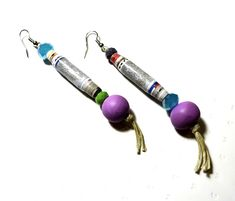 Paper bead earrings-Quilled earrings-Unique-Handmade-Recycled beads-Glass…