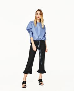 ZARA - WOMAN - CROPPED TROUSERS WITH FRILL