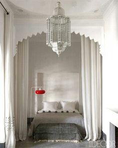 Look at this beauty found by Elle Decor! It's the revival of a traditional riad in Marrakech and love at first sight for owner, Philomena! Moroccan Bedroom, Moroccan Interiors, Moroccan Decor, Moroccan Style, Moroccan Design, Moroccan Furniture, Modern Moroccan, Moroccan Lanterns, Design Marocain