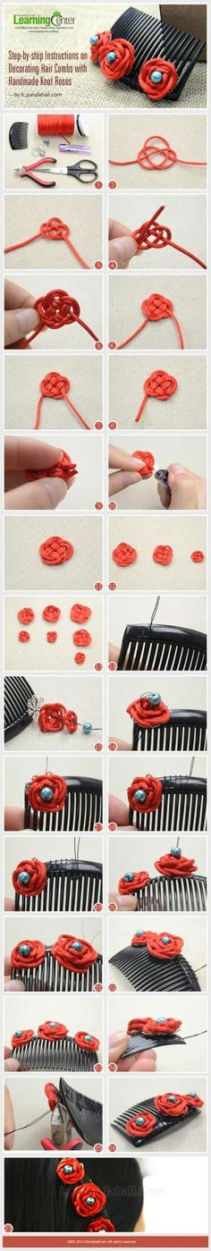 Step-by-step Instructions on Decorating Hair Combs with Handmade Knot Roses by Jersica