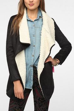 Faux Shearling Jacket Black Urban Outfitters