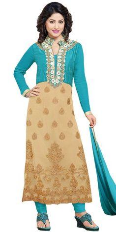 Rustic Blue And Cream Georgette Salwar Suit.