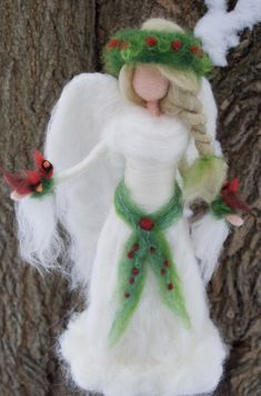 Items similar to Angel Tree Topper with Red Cardinals, Needle Felt Christmas Memorial on Etsy Felt Christmas Decorations, Felt Christmas Ornaments, Christmas Tree Toppers, Christmas Crafts, Christmas Tree Angel, Christmas Fairy, Felt Angel, Felt Tree, Winter Fairy