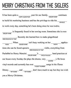 Cute idea for a christmas letter christmas letters pinterest christmas mad libs how clever would this be for a christmas letter funny m4hsunfo