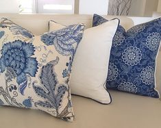 Hamptons Style Cushions,Hamptons Pillows, Linen Pillows. Floral Blue & White Cushion Cover Coastal Ivory Cushion Covers Scatter Cushion
