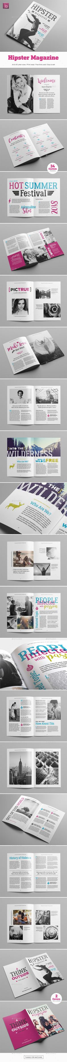 Hipster Magazine by Snowboy Hipster MagazineHighly editable InDesign magazine template. Easy to customize with styles and swatches. Clean visual structure and