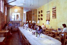 We love the large communal table at Le Pain Quotidien Santa Monica.