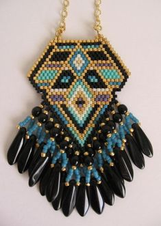 Native American Inspired Seed Bead Pendant Copyright by pattimacs