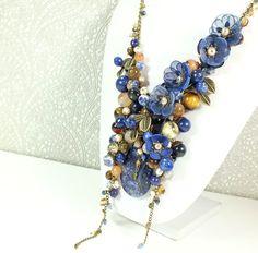 Карамельно - Синий Этюд. Колье, съёмный цветочный декор – купить в интернет-магазине на Ярмарке Мастеров с доставкой
