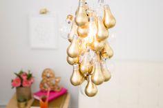 DIY Gold-Dipped Light Bulb Chandelier