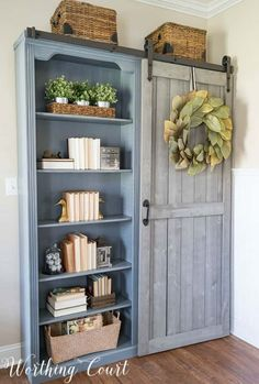 Farmhouse Style Bookcases With A Diy Sliding Door Worthing Court Foyer Decorating, Farmhouse Style Decorating, Farmhouse Decor, Farmhouse Office, Bookcase Decorating, Decorating Ideas, Farmhouse Ideas, Farmhouse Furniture, Farmhouse Bookcases