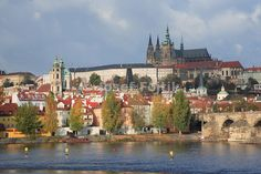 Vltava River, Lesser Town and Prague Castle with the Saint Vitus Cathedral, Prague, Czech Republic