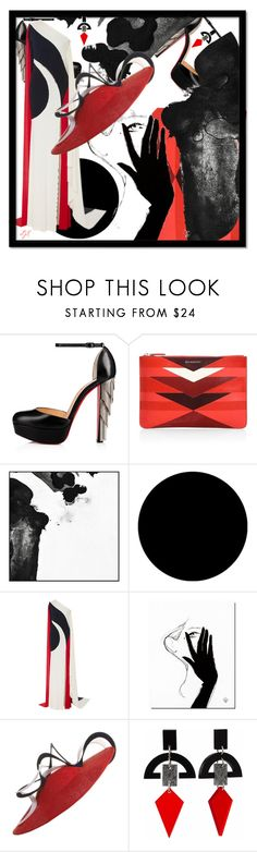 """Pssst!"" by sjk921 ❤ liked on Polyvore featuring Christian Louboutin, Givenchy, PTM Images, Wall Pops!, Naeem Khan and Toolally"