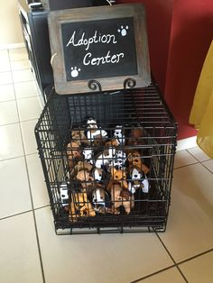 Use a pet crate with a towel or bath rug to create a your own pet adoption center.