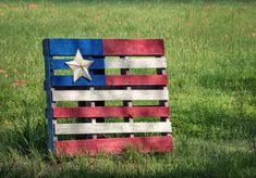 Decorative wood pallet flag with Texas star displayed against spring meadow. Vintage texture effects.