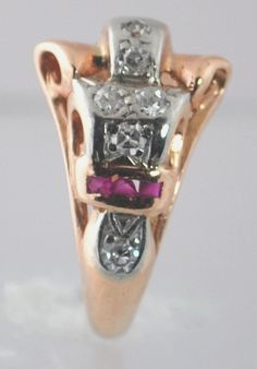 Vintage Pink Gold Diamond and Ruby Ring