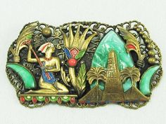 RARE Antique ART DECO 1920's EGYPTIAN REVIVAL Max Neiger Brooch | eBay, sold for $284.00