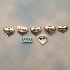 Floating charms for living memory locket silver heart Sister, Mom, Aunt, Mimi, Family, blue Mom on Etsy, $3.00