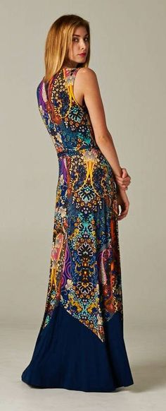 Madeline Maxi Dress in a cool, bold pattern.