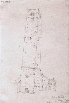 Torre del Popolo Ravenna – schizzo lapis su carta, da taccuino viaggiatore inglese del 1842 – Raccolta personale.