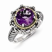 Sterling Silver w/14k Yellow Gold Antiqued Amethyst and Diamond Ring