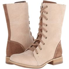 Caterpillar Casual Narcissa Women's Lace-up Boots, Beige ($99) ❤ liked on Polyvore featuring shoes, boots, ankle boots, beige, long boots, mid-calf boots, lace up bootie, lace up boots and platform boots