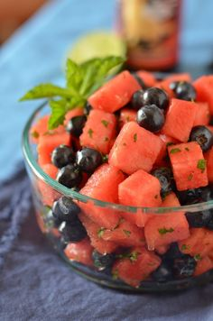 Red, mint & blue July 4th FRUIT salad