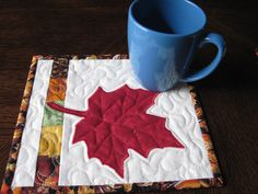 Maple Leaf Mug Rug/Snack Mat/Candle Mat Red by SnuggleMeDesigns