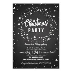Vintage Chalkboard Christmas Party | Stars Card