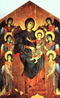Giovanni Cimabue (Italian Byzantine Style Painter, c 1240-1302) Madonna and Child in Majesty Surrounded by Angels by Giovanni Cimabue