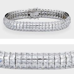 Luxurious cubic zirconia bracelet features three rows of princess cut stones channel set in 14k white gold. An approximate 23.60 total carat weight, measures over 10mm wide. This high quality cubic zirconia bracelet is 7 inches long, also available in different lengths and in 14k yellow gold via special order. Cubic zirconia weights refer to equivalent diamond carat size.