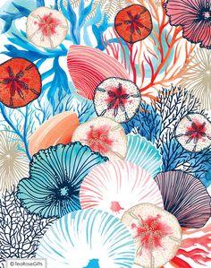 Coral & shells deep sea print 2 coastal decor nautical