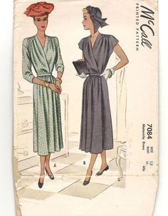 1940s DRESS Vintage Sewing Pattern ~ Wrap Front with Tie Belt ~ V-Neckline Maternity Dress ~ Misses Size 12 Bust 32 ~ McCall Printed Pattern by CottageontheBluff on Etsy https://www.etsy.com/listing/247874218/1940s-dress-vintage-sewing-pattern-wrap