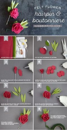 25 super ideas for flowers diy felt rose tutorial Paper Flowers Diy, Handmade Flowers, Flower Crafts, Fabric Flowers, Diy Paper, Paper Crafts, Felt Roses, Felt Flowers, Potted Flowers