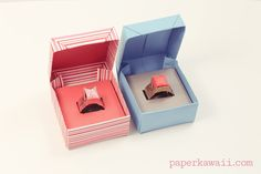 Origami Ring Box for Valentine's Day, Learn how to fold a cute origami ring box with a hinged lid, add your own real jewellery gift or make an origami ring to fit inside! #box #cuteorigami #valentines