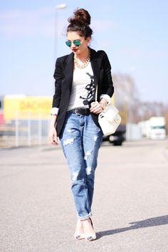 fashionhippieloves jacket shirt jeans belt shoes sunglasses jewels bag boyfriend jeans