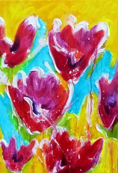 Adry's schilderij nr. 2128 met als titel: In rood, in geel en in blauw 'n tulpje van mij in het formaat 70 x 100 cm.