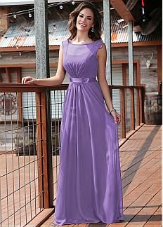 Charming Chiffon Bateau Neckline Natural Waistline Full Length A-line Bridesmaid Dresses