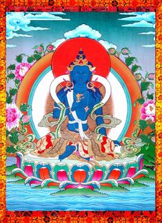 "Vajrapāṇi 金剛手菩薩 (Sanskrit, ""Vajra in [his] hand"") is one of the earliest-appearing bodhisattvas in Mahayana Buddhism. He is the protector and guide of Gautama Buddha and rose to symbolize the Buddha's power. In Tibetan Buddhism and in Pure Land Buddhism, he is known as Mahasthamaprapta (大勢至菩薩) and forms a triad with Amitābha and Avalokiteśvara."