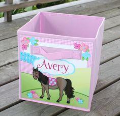 Pretty Pink Blue Horse Pony Riding Fabric Bin by ToadAndLily, $18.00