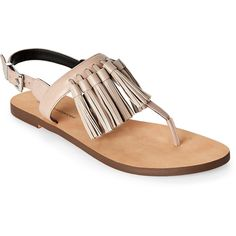Rebecca Minkoff Sand Erin Tassel T-Strap Sandals (1,650 MXN) ❤ liked on Polyvore featuring shoes, sandals, beige, toe thong sandals, fringe sandals, beige shoes, t strap thong sandals and slingback shoes