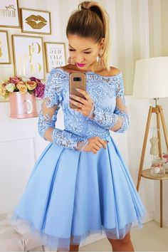 Blue lace tulle homecoming dress, Satin Appliques Short Homecoming Dress with Full Sleeves Cute Girls Cocktail Party Gowns Short · HotProm · Online Store Powered by Storenvy Homecoming Dresses Long, Hoco Dresses, Formal Dresses, Short Prom, 1950s Dresses, Graduation Dresses, Sexy Dresses, Bridal Dresses, Vintage Dresses