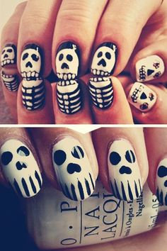 Some spooky creatures -- vampires and mummies and ghosts, oh my! -- make an appearance in these nail art designs