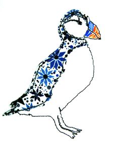Free-machine embroidered Puffin by Wildgoose Designs
