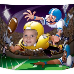 Our Football Photo Prop is a great way to add an extra touch of fun to your football party. Set this prop on a table and have your party guests sit behind it